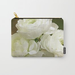 Spring Botanical -- White Ranunculus Flowers Carry-All Pouch