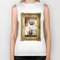 astronaut Biker Tanks featuring Sloth Astronaut by Bakus