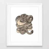 snake Framed Art Prints featuring Snake  by AW Illustrations