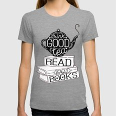 Drink Good Tea, Read Good Books MEDIUM Womens Fitted Tee Tri-Grey