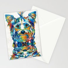 Colorful Yorkie Dog Art - Yorkshire Terrier - By Sharon Cummings Stationery Cards