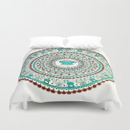 Cafe Expresso Teal, Brown, and White Mandala Duvet Cover