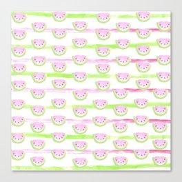 Modern pink lime green watercolor watermelon stripes Canvas Print