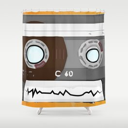 The cassette tape Robot Shower Curtain