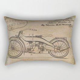 Original Motorcycle Drawing Sketch with Signatures Rectangular Pillow