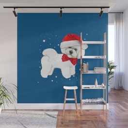 Bichon Frise red christmas holiday themed pattern print pet friendly dog breed gifts Wall Mural