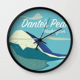 Dante's Peak Washington vintage travel poster Wall Clock
