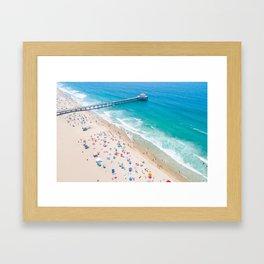 Manhattan Beach Drone Shot Framed Art Print