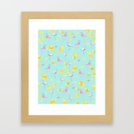 Flamingo Lemon Twist Summer Pattern #1 (Kids Collection) #decor #art #society6 Framed Art Print