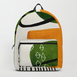 Mid Century Modern Abstract Colorful Art Patterns Olive Green Yellow Ochre Orbit Geometric Objects Backpack
