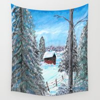 cabin Wall Tapestries featuring Winter Cabin by Connie Campbell