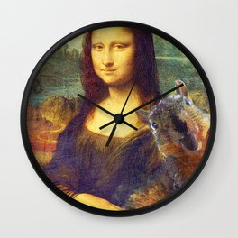 Mona Lisa Squirrel Photo Bomb Pop Art Wall Clock