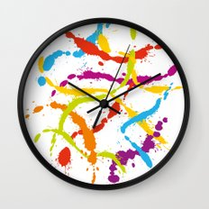 Splattered Rainbow [WHITE] Wall Clock