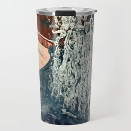 Kelly [2]: a bold, textured, abstract mixed media piece in fall colors/ blue, burnt sienna, ochre Travel Mug