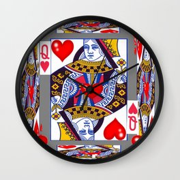 RED QUEEN OF HEARTS ON GREY Wall Clock