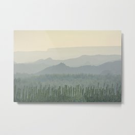 Sunrise at the misty mountains Metal Print