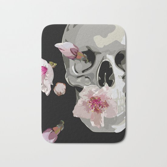 """Spring"" Skull and flowers Bath Mat"