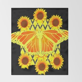 SUNFLOWERS & MONARCH BUTTERFLY BLACK GRAPHIC Throw Blanket