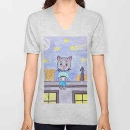 Coffe cat on a roof Unisex V-Neck