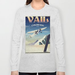 Vail Colorado vintage travel poste Long Sleeve T-shirt