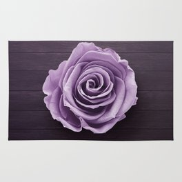 PURPLE - ROSE - ON - WOODEN - SURFACE Rug
