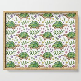 Tortoises and Flowers on white pattern Serving Tray