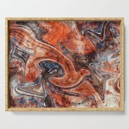 Orange marble watercolor Serving Tray