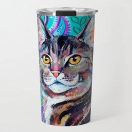 Tabby Cat on Paisley Travel Mug