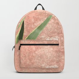 Weathered pink wall and cactus Backpack