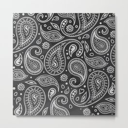 Elegant Hand Drawn Paisley Pattern Metal Print