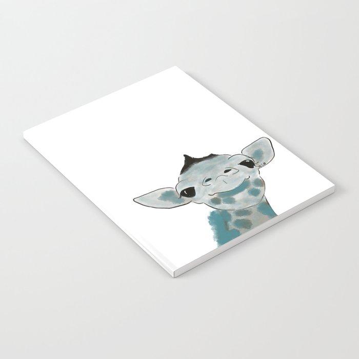 Happy Baby Giraffe // Giraffe In Watercolor Blue and Gray Notebook