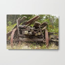 Reclaimed Woodpile Metal Print
