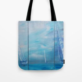 Regata Yachts Sailboat Marine tryptych blue paintings S054 Acrylic Original Contemporary Art for Lou Tote Bag