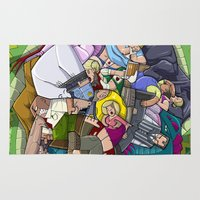it crowd Area & Throw Rugs featuring Crowd & Snake by Miguel Herranz