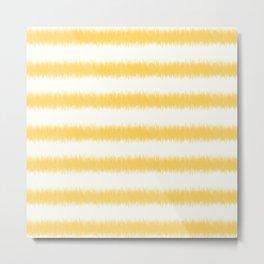 Ikat Stripe Yellow Metal Print