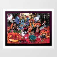 one piece Art Prints featuring Halloween in One Piece by Borsalino