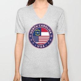 North Carolina, USA States, North Carolina t-shirt, North Carolina sticker, circle Unisex V-Neck
