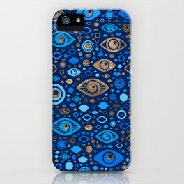 Greek Evil Eye pattern Blues and Gold iPhone Case