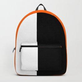 Modern White Black Orange Colorblock Backpack