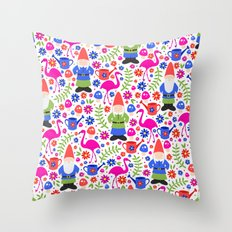 Gnome Garden Throw Pillow