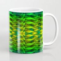 green pattern Mugs featuring Green pattern. by Assiyam