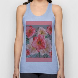 CORAL COLORED  PINK & CREAM DAYLILIES Unisex Tank Top