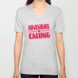 Adventure Is Calling Hand Lettered Camping Quote in Pink Unisex V-Neck