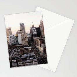 Downtown Detroit Skyline Woodward Avenue Stationery Cards
