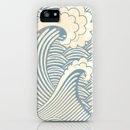 Abstract great waves vintage illustration pattern iPhone Case