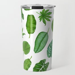 Tropical Palm Monstera Leaves Watercolor Pattern | Jungle Leaves | Tropical design Travel Mug