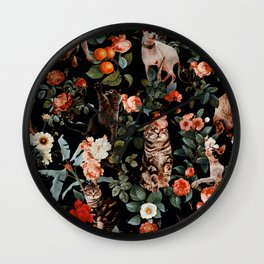 Cat and Floral Pattern II Wall Clock
