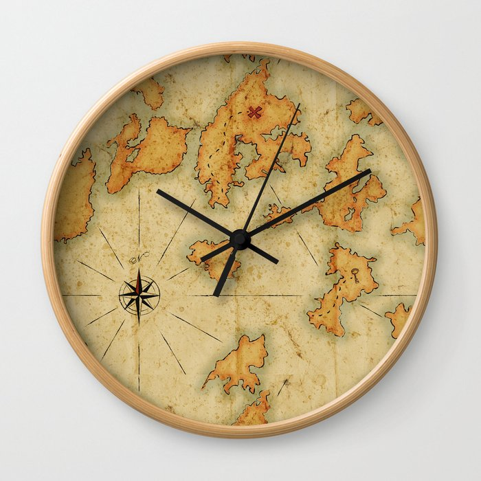 Treasure Island Old Map Wall Clock