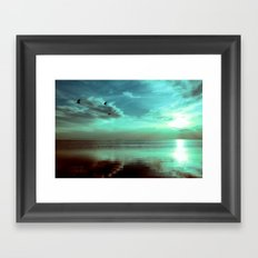 Sunset Off the Water (teal) Framed Art Print