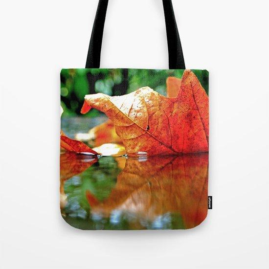 Autumn leaf reflected Tote Bag